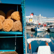 Sponge with harbor background — Stock Photo #70586573