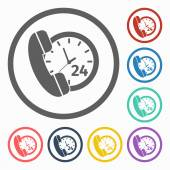 Call 24 hours icon — Stock Vector