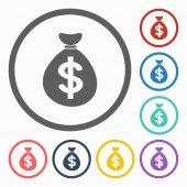 Money bag dollar icon — Stock Vector