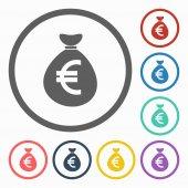 Money bag euro icon — Stock Vector