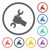 гаечный ключ в руках икону — Cтоковый вектор