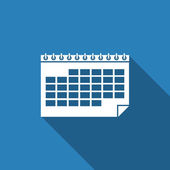 Calendar icon with long shadow — Vettoriale Stock