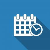 Calendar & clock icon with long shadow — Vettoriale Stock