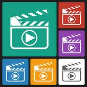 Film slate play button icon — Stock Vector