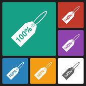 100 percent tag icon — Stock Vector