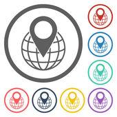 Pin on globe icon — Stock Vector
