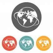 Plane around the world icon — Stock Vector