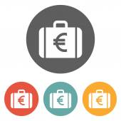 Money case with eu currency symbol icon — Stock Vector