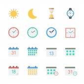 Time date icons set — Stock Vector
