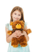 Pretty little girl with teddy bear  — Stock Photo