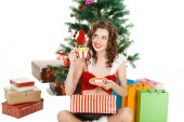 Smilling christmas girl isolated on white background — Stock Photo