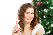 Smilling christmas girl isolated on white background — Stock Photo
