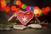 Delicious homemade Christmas gingerbread cookies. Heart shape. — Stock Photo