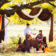 Beautiful Young Couple Having Picnic in autumn Park. Happy Famil — Stock Photo #54937487