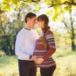 Beautiful Young Pregnant Couple Having Picnic in autumn Park. Ha — Stock Photo #55276951