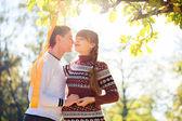 美丽的年轻怀孕夫妇在秋天公园野餐。医管局 — 图库照片