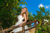 Happy bride in wedding dress smiles tropical plants in the backg — Stock Photo