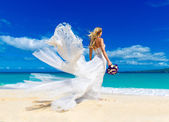 Beautiful blond fiancee in white wedding dress with big long whi — Stock Photo