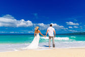 Happy bride and groom on a tropical beach — Stock Photo