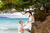Glückliche Bräutigam und Braut auf dem Felsen. Türkisfarbene Meer in die Tergru — Stockfoto
