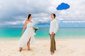 Happy groom and bride having fun on the sandy tropical beach. We — Stock Photo