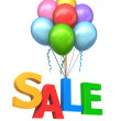 Balloon carrying the word sale — Stock Photo #59985593