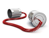 Tin can phone with wired cable — Stockfoto