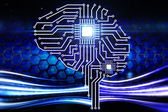 Computer circuit board in the form of the human brain  — Stock Photo