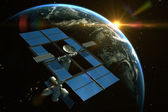 Space Station is orbiting around the Earth  — Stock Photo