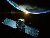 Satellite is orbiting around the Earth  — Stock Photo