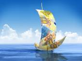 Sailboat made of Euro — Stock Photo