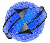 Films orbiting around globe  — Stock Photo