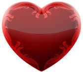 Ruby heart with ornament  — Stock Photo