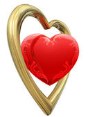 Golden and ruby heart shapes — Stock Photo