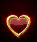 Ruby heart in gold frame — Stock Photo
