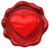 Wax seal in form of heart hape — Stockfoto