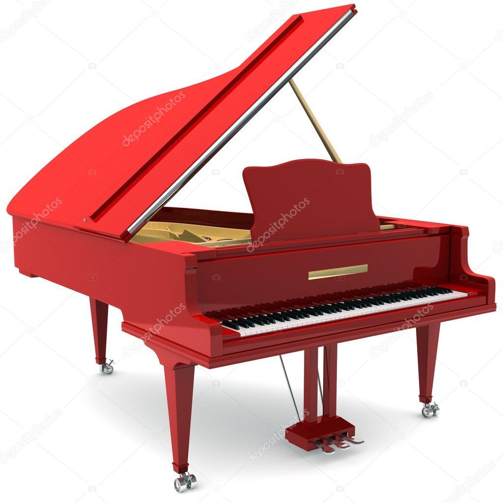 Piano de cauda vermelha — Fotografias de Stock © iLexx ...