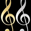 Treble clef .Gold and silver — Stock Photo #60126377