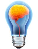 Light bulb with hot brain inside  — Stock Photo