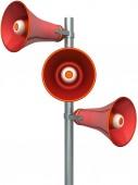 Three red loudspeakers on the mast — Fotografia Stock