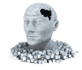 3D head consisting of cubes — Stock Photo