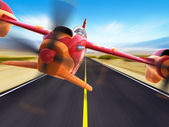 Sport racing aircraft is flying above a highway — Stock Photo