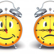 Alarm clocks with emotion on a dial — Stock Photo #60154161