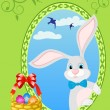 Easter bunny and basket full of colored eggs — Stock Vector #60199585