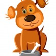Cute dog with a bone — Stock Vector #60199589