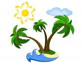 Exotic palm island — Vettoriale Stock