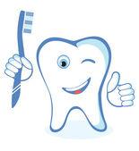 Healthy white shiny tooth  — Vector de stock