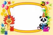 Cartoon animals frame — Stock Vector