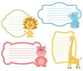 Cartoon Animals label Set — Vettoriale Stock