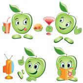 Apple cartoon Set — Vettoriale Stock